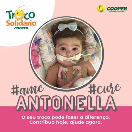 Entidades do Troco Solidário da Cooper entram em campanha pela cura da menina Antonella
