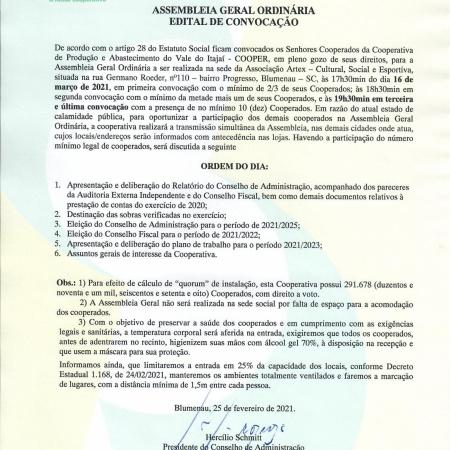 Edital de convocação para Assembleia Geral Ordinária 2021