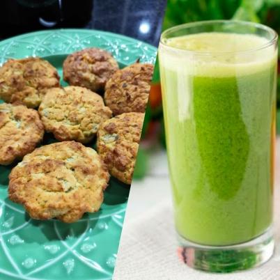 Muffin de couve flor com frango sem glúten e suco verde