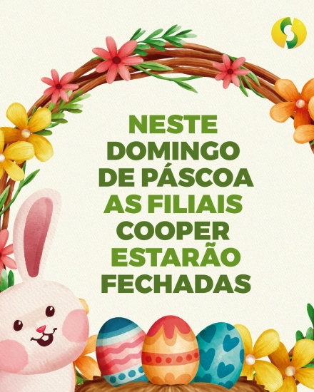 Cooper estará fechada no domingo de Páscoa (4/4)