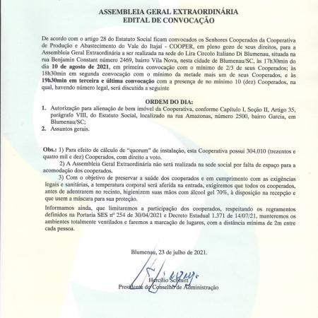 Assembleia Geral Extraordinária - Edital Convocação